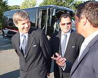 Harold Mayne-Nicholls talks to John Harkes during the visit of the FIFA World Cup 2018-2022 inspection delegation to George Mason University soccer practice facility.