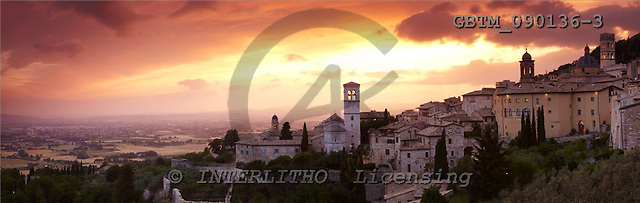 Tom Mackie, LANDSCAPES, panoramic, photos, Sunset over Assisi, Umbria, Italy, GBTM090136-3,#L#