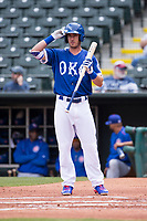 Cody Bellinger (10) of the Oklahoma City Dodgers stands at the plate during a game against the Iowa Cubs at Chickasaw Bricktown Ballpark on April 9, 2016 in Oklahoma City, Oklahoma.  Oklahoma City defeated Iowa 12-1 (William Purnell/Four Seam Images)