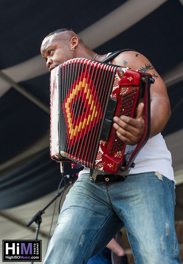 Dwayne Dopsie and the Zydeco Hellraisers  perform at the 2013 New Orleans Jazz and Heritage Festival on April 27, 2013 in New Orleans, LA.  © HIGH ISO Music, LLC / Retna, Ltd.