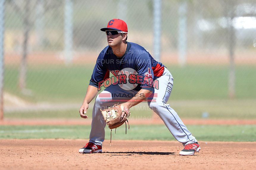 Cleveland Indians third baseman James Roberts (26) during an instructional league game against the Cincinnati Reds on September 28, 2013 at Goodyear Training Complex in Goodyear, Arizona.  (Mike Janes/Four Seam Images)