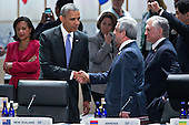 "United States President Barack Obama left, shakes hands with Serzh Sargsyan, Armenia's president, during an opening plenary entitled ""National Actions to Enhance Nuclear Security"" at the Nuclear Security Summit in Washington, D.C., U.S., on Friday, April 1, 2016. After a spate of terrorist attacks from Europe to Africa, Obama is rallying international support during the summit for an effort to keep Islamic State and similar groups from obtaining nuclear material and other weapons of mass destruction. <br /> Credit: Andrew Harrer / Pool via CNP"
