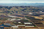Agricultural land encroaching on natural habitat, Monterey Bay, California