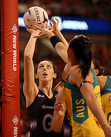 20.10.2015 Silver Ferns Bailey Mes in action during the Silver Ferns v Australian Diamonds netball test match played ay Horncastle Arena in Christchruch. Mandatory Photo Credit ©Michael Bradley.