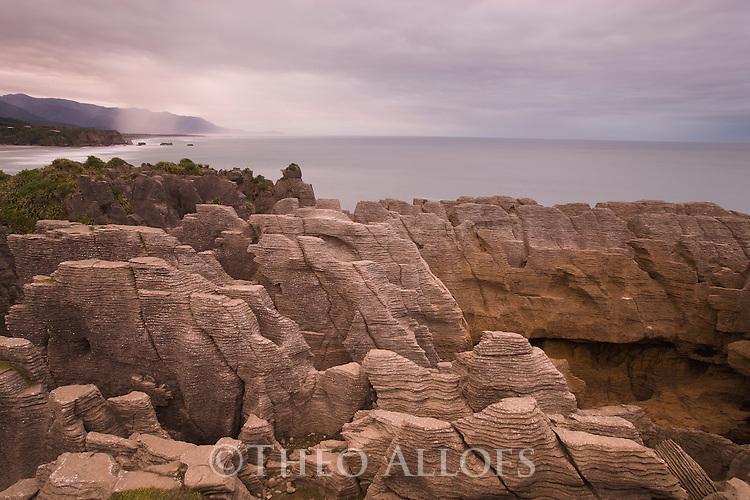 Punakaiki Rocks (Pancake Rocks) at dawn, New Zealand, South Island