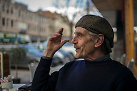 Portrait of Academy award, Golden Globe and Tony award winner, Jeremy Irons having a break before going on stage in LONG DAY JOURNEY INTO NIGHT.<br />