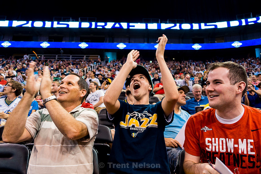 Trent Nelson  |  The Salt Lake Tribune<br /> Stuart, Jakob, and Brenden Smith react as the Utah Jazz select Kentucky forward Trey Lyles with the 12th pick in the 2015 NBA Draft. Jazz fans were invited to EnergySolutions Arena in Salt Lake City, Thursday June 25, 2015 to watch a broadcast of the draft.