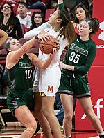 COLLEGE PARK, MD - DECEMBER 8: Stephanie Karcz #10 of Loyola blocks Shakira Austin #1 of Maryland during a game between Loyola University and University of Maryland at Xfinity Center on December 8, 2019 in College Park, Maryland.