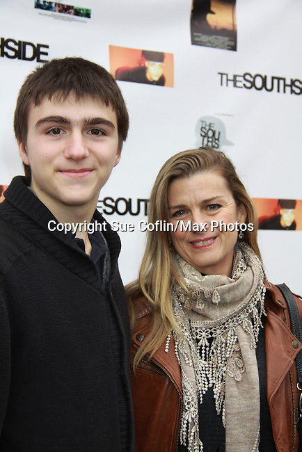"""One Life To Live and Guiding Light Fiona Hutchison (in the film) poses with her son Trevor at The private Industry Screening of """"The Southside"""", A Lany Film Tribute to Robert Areizaga, Jr. on February 27, 2012 at Tribeca Cinemas, New York City, New York.  (Photo by Sue Coflin/Max Photos)"""