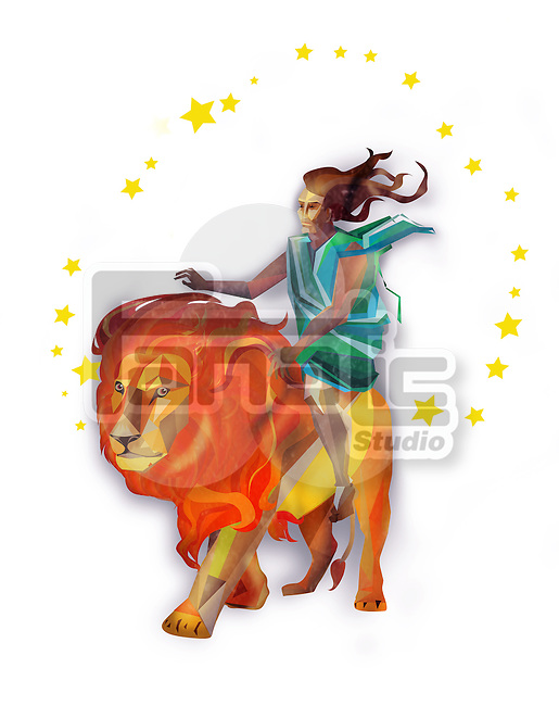 Leo zodiac sign over white background
