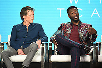 """PASADENA, CA - JANUARY 31: Kevin Bacon and Aldis Hodge of """"City On A Hill"""" attend the Showtime portion of the 2019 Television Critics Association Winter Press Tour at the Langham Huntington on January 31, 2019, in Pasadena, California. (Photo by Frank Micelotta/PictureGroup)"""