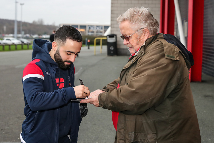 Bolton Wanderers' Erhun Oztumer signs an autograph for a fan<br /> <br /> Photographer Andrew Kearns/CameraSport<br /> <br /> Emirates FA Cup Third Round - Bolton Wanderers v Walsall - Saturday 5th January 2019 - University of Bolton Stadium - Bolton<br />  <br /> World Copyright © 2019 CameraSport. All rights reserved. 43 Linden Ave. Countesthorpe. Leicester. England. LE8 5PG - Tel: +44 (0) 116 277 4147 - admin@camerasport.com - www.camerasport.com
