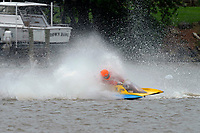 Frame 13: 300-P comes together with 911-Q, turns away and then is ejected from the boat.   (Outboard Hydroplanes)