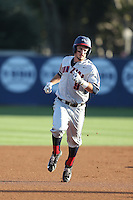 Mitchell Gunsolus (9) of the Gonzaga Bulldogs runs the bases during a game against the Loyola Marymount Lions at Page Stadium on March 27, 2015 in Los Angeles, California. Loyola Marymount defeated Gonzaga 6-5.(Larry Goren/Four Seam Images)