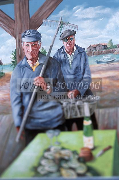 Europe/France/Aquitaine/33/Gironde/Bassin d'Arcachon/Gujan-Mestras: Port Ostréicole Larros - Détail du mur peint du bar de La Marine représentant des ostréiculteurs