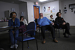 "(L-r) Mildred Shepherd, 68, Bobbi Michaels, 60, Norm Cutler, 66, Laurie Levin, 61, and Gail Cutler, 63 during a presentation of the evacuation of Touro Infirmary two days after Hurricane Katrina at Touro Infirmary on March 10, 2008.  The group of ""voluntourists"" from Glencoe, Illinois is traveling to New Orleans to combine traditional tourism with volunteer work in the aftermath of the devastation wrought by Hurrica Katrina in 2005."