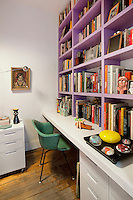 purple bookcase