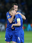 Leicester's Jamie Vardy and Christian Fuchs look on dejected at the final whistle during the Champions League Quarter-Final 2nd leg match at the King Power Stadium, Leicester. Picture date: April 18th, 2017. Pic credit should read: David Klein/Sportimage