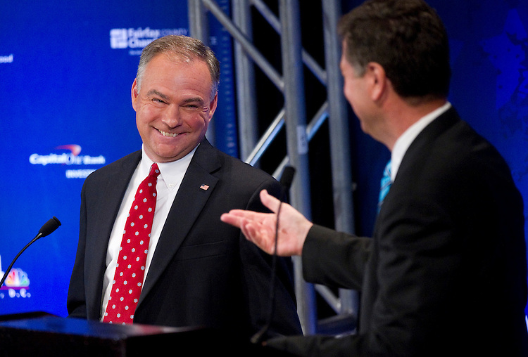 UNITED STATES - SEPTEMBER 20: Former Democratic Governor Tim Kaine debates former Republican Senator George Allen in their first televised debate for Virginia's Senate seat. The debate hosted by the Fairfax County Chamber of Commerce and NBC4 Washington at the Capital One Conference Center.  (Photo By Chris Maddaloni/CQ Roll Call)