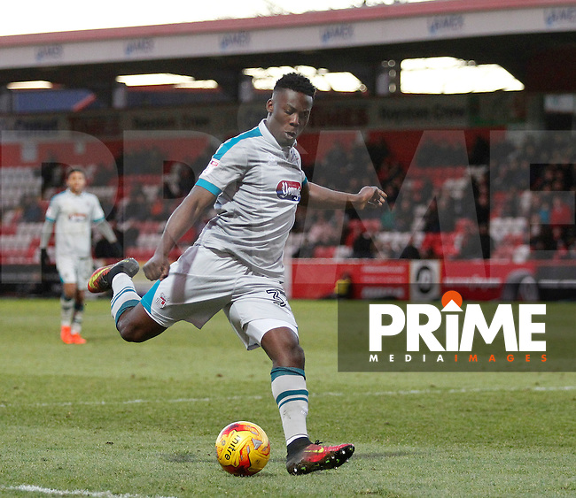 Grimsby's Akwasi Asante in action during the Sky Bet League 2 match between Stevenage and Grimsby Town at the Lamex Stadium, Stevenage, England on 28 January 2017. Photo by Carlton Myrie / PRiME Media Images.