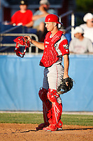June 22, 2009:  Catcher David Doss of the Williamsport Crosscutters during a game at Dwyer Stadium in Batavia, NY.  The Crosscutters are the NY-Penn League Short-Season Single-A affiliate of the Philadelphia Phillies.  Photo by:  Mike Janes/Four Seam Images