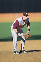 Virginia Tech Hokies third baseman Erik Payne (5) on defense against the Wake Forest Demon Deacons at Wake Forest Baseball Park on March 7, 2015 in Winston-Salem, North Carolina.  The Hokies defeated the Demon Deacons 12-7 in game one of a double-header.   (Brian Westerholt/Four Seam Images)