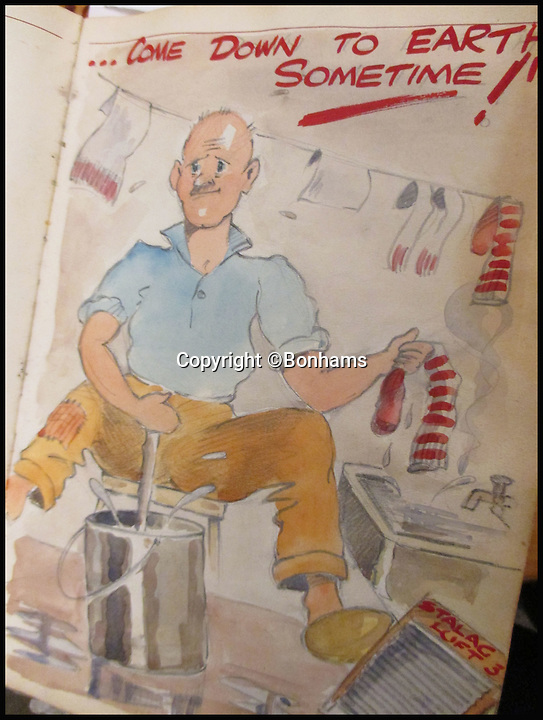BNPS.co.uk (01202 558833)<br /> Pic: Bonhams/BNPS<br /> <br /> An airman washing his socks at Stalag Luft III.<br /> <br /> Tell-tale illustrations of British airmen plotting the famous Great Escape drawn by a prisoner of war at huge risk have come to light.<br /> <br /> The watercolour paintings were kept in a wartime scrapbook by Flight Lieutenant Archibald Sulston, a keen artist who drew and painted life in the PoW - including obvious evidence of a tunnel being dug.<br /> <br /> The album is being sold at auction for &pound;20,000.
