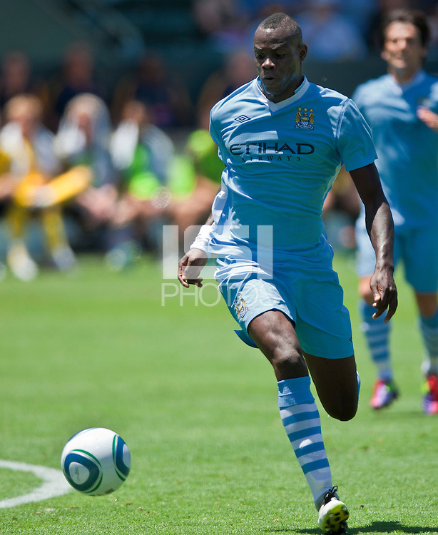 CARSON, CA – July 24, 2011: Mario Balotelli (45) of Manchester City during the match between LA Galaxy and Manchester City FC at the Home Depot Center in Carson, California. Final score Manchester City FC 1 and LA Galaxy 1. Manchester City wins shoot out 7, LA Galaxy 6.