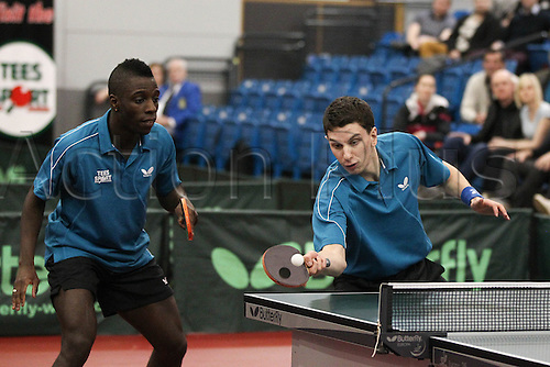 03.03.2013 Sheffield, England.  Darius Knight & Daniel Reedwith contest the mens doubles final of the English National Table Tennis Championships from the Ponds Forge International Sports Centre. Drinkhall & Pitchford win the title