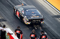 Jun. 29, 2012; Joliet, IL, USA: NHRA pro stock driver Erica Enders during qualifying for the Route 66 Nationals at Route 66 Raceway. Mandatory Credit: Mark J. Rebilas-