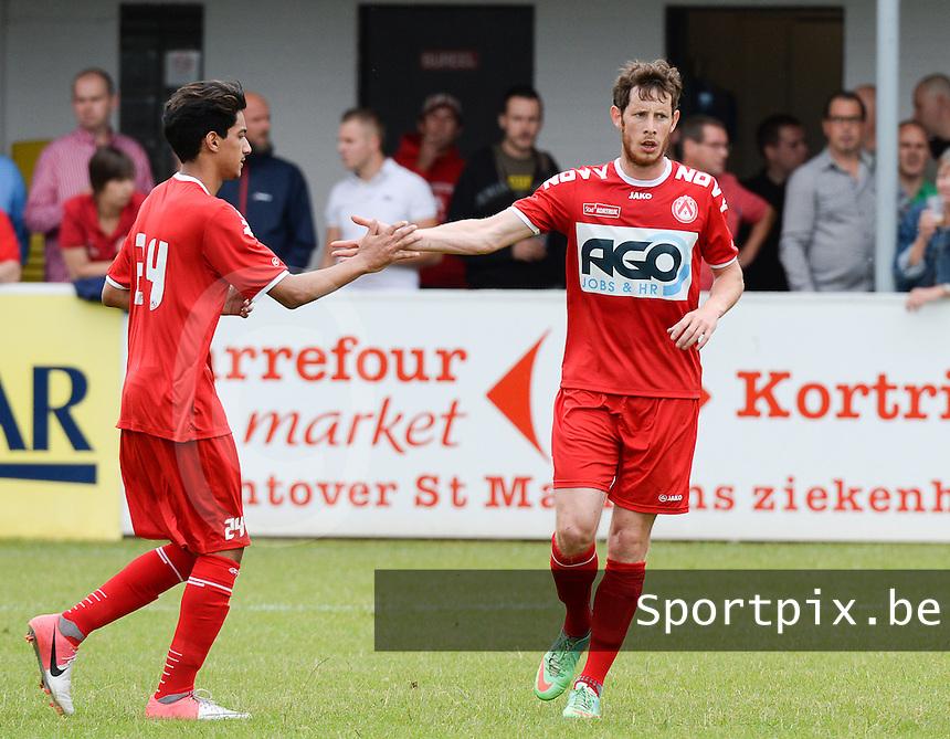 FC Gullegem - KV Kortrijk : Thomas Matton (r) viert z'n doelpunt met Salah Dib (l) <br /> foto VDB / BART VANDENBROUCKE
