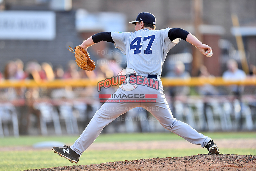 Pulaski Yankees pitcher Austin Gardner (47) delivers a pitch during a game against the Johnson City Cardinals at TVA Credit Union Ballpark on July 7, 2018 in Johnson City, Tennessee. The Cardinals defeated the Yankees 7-3. (Tony Farlow/Four Seam Images)
