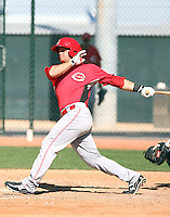 Devin Mesoraco of the Cincinnati Reds plays in a minor league spring training game against the Cleveland Indians at the Indians complex on March 26, 2011 in Goodyear, Arizona. .Photo by:  Bill Mitchell/Four Seam Images.