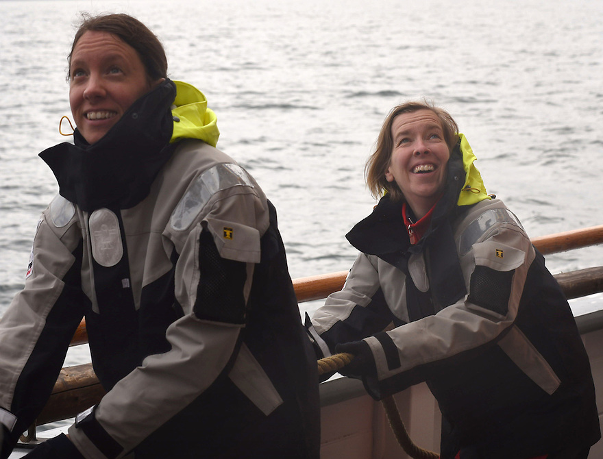 THE BESSIE ELLEN TRAVEL FEATURE.<br /> Paediadric intensive care nurse, Eve Hallam, 33 and journalist Hazel Southam, 51, hauling up the main sail.<br /> Photo:Clare Kendall<br /> 19/05/2016.
