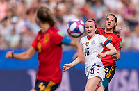 REIMS,  - JUNE 24: Rose Lavelle #16 crosses the ball during a game between NT v Spain and  at Stade Auguste Delaune on June 24, 2019 in Reims, France.