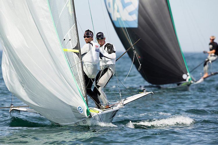 SANTANDER, SPAIN - SEPTEMBER 14:  49er - USA17 - Frederick STRAMMER / Zach BROWN in action during Day 4 of the 2014 ISAF Sailing World Championships on September 15, 2014 in Santander, Spain.  (Photo by MickAnderson/SAILINGPIX via Getty Images)