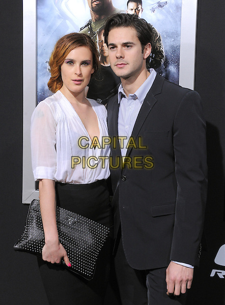 "Rumer Willis & Jayson Blair.""G.I. Joe: Retaliation"" Los Angeles Premiere held at TCL Chinese Theatre, Hollywood, California, USA..March 28th, 2013     .half length blouse skirt clutch bag sheer suit blue shirt couple see through thru bra black white .CAP/DVS.©DVS/Capital Pictures."