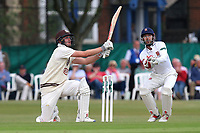 Dominic Sibley hits four runs for Surrey as James Foster looks on from behind the stumps during Surrey CCC vs Essex CCC, Specsavers County Championship Division 1 Cricket at Guildford CC, The Sports Ground on 9th June 2017