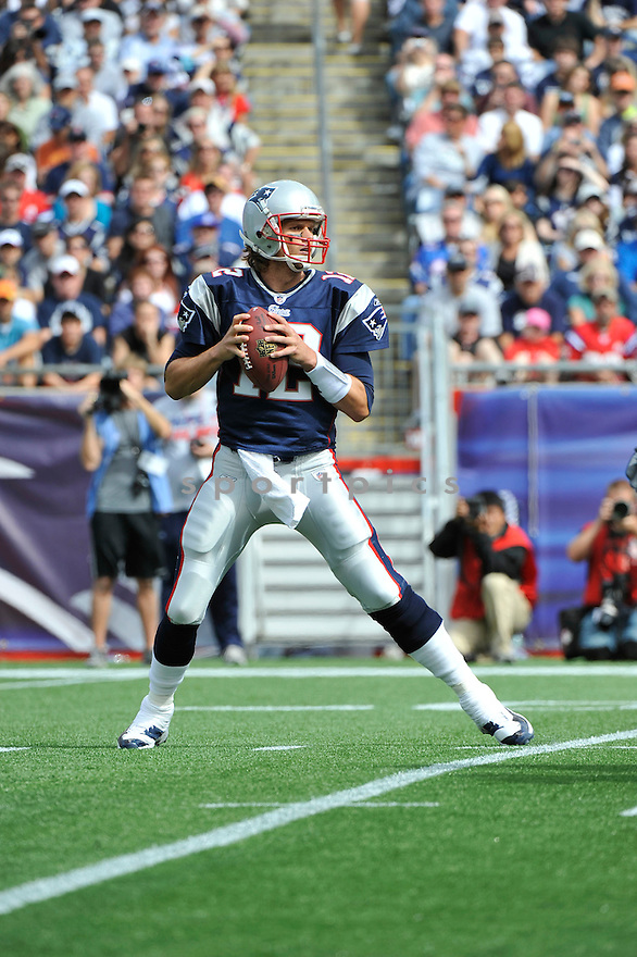 TOM BRADY, of the New England Patriots,  in action during the Patriots  game against the Buffalo Bills on September 26, 2010 at Gilette Stadium in Foxboro, Massachusetts..Patriots defeated the Bills 38-30