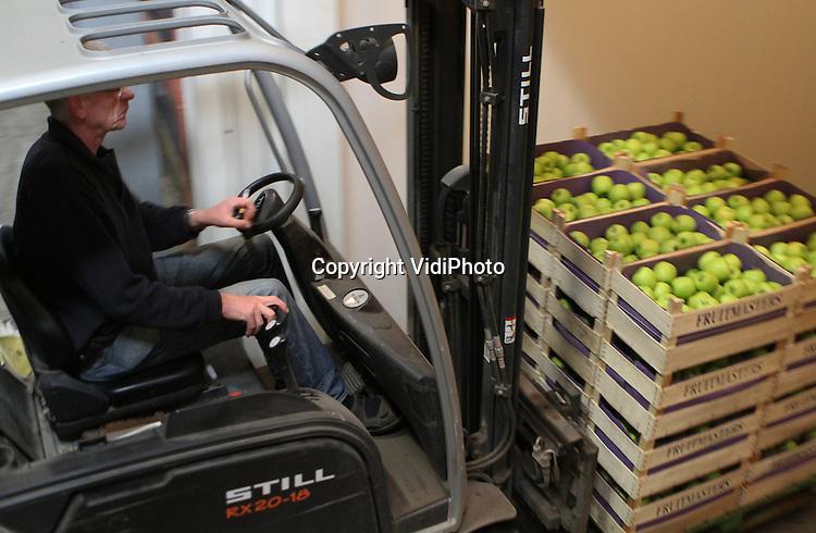 Foto: VidiPhoto..RESSEN - Sombere gezichten bij Nederlandse fruittelers, ondanks een topoogst. Er is dit jaar zoveel fruit, dat fruittelers schreeuwen om opslagruimte. Er is zelfs een tekort aan kuubskisten om de appels in te oogsten. De appeloogst ligt ongeveer 12 procent boven het recordjaar 2009 en 25 procent hoger dan vorig jaar, met als gevolg dat de prijzen voor de telers fors gekelderd zijn. Foto: Fruitteler Nico van Olst van fruitbedrijf De Woerdt uit Ressen bij Nijmegen rijdt een vracht appels in zijn toch al volle koelcellen. Van Olst zelft heeft in zijn veertien koelcellen ruimte voor 1,2 miljoen kilo. Verhuren van koelruimte zit er dit jaar niet in..