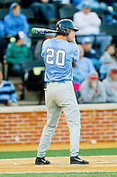 Skye Bolt (20) of the North Carolina Tar Heels at bat against the Wake Forest Demon Deacons at Wake Forest Baseball Park on March 9, 2013 in Winston-Salem, North Carolina.  The Tar Heels defeated the Demon Deacons 20-6.  (Brian Westerholt/Four Seam Images)