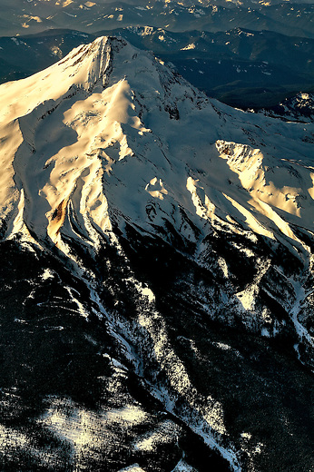 Aerial view of Mt. Hood covered in snow