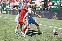 Portland, OR - Saturday August 05, 2017: Rachel Daly, Lindsey Horan during a regular season National Women's Soccer League (NWSL) match between the Portland Thorns FC and the Houston Dash at Providence Park.