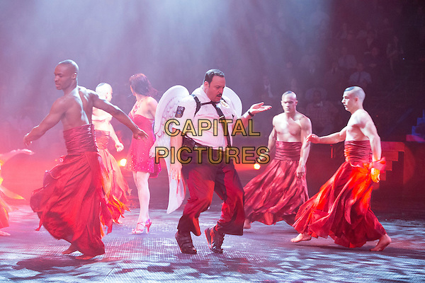 Kevin James on stage with the &quot;Le Reve&quot; performers <br /> in Paul Blart: Mall Cop 2 (2015) <br /> *Filmstill - Editorial Use Only*<br /> CAP/FB<br /> Image supplied by Capital Pictures