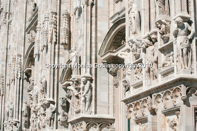 The facade of the Duomo (Cathedral) in Milan, Italy.