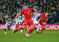 Sam Vokes of Wales fails to score with a penalty kick during the international friendly soccer match between Wales and Panama at Cardiff City Stadium, Cardiff, Wales, UK. Tuesday 14 November 2017.