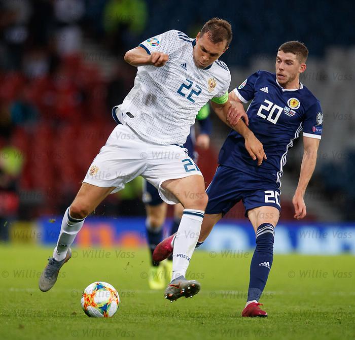 06.09.2019 Scotland v Russia, European Championship 2020 qualifying round, Hampden Park:<br /> Ryan Christie with Artem Dzyuba