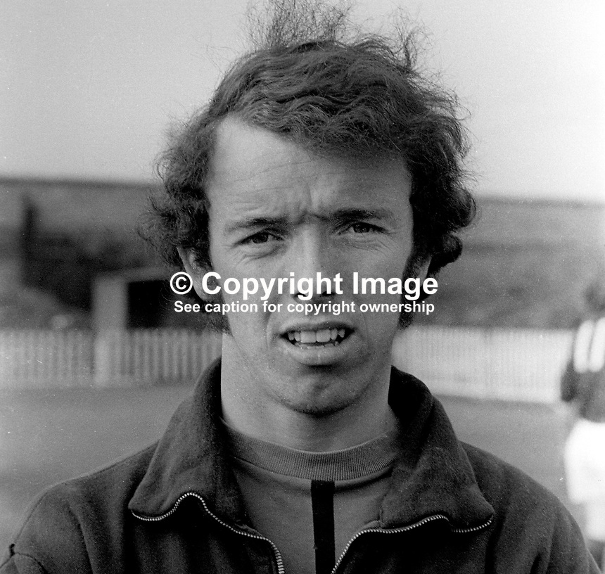 Bobby McQuillan, footballer, N Ireland Amateur International, Crusaders FC, N Ireland, May 1972. 197205000232<br /> <br /> Copyright Image from Victor Patterson, 54 Dorchester Park, Belfast, UK, BT9 6RJ<br /> <br /> t1: +44 28 9066 1296<br /> t2: +44 28 9002 2446<br /> m: +44 7802 353836<br /> <br /> e1: victorpatterson@me.com<br /> e2: victorpatterson@gmail.com<br /> <br /> www.victorpatterson.com<br /> <br /> IMPORTANT: Please see my Terms and Conditions of Use at www.victorpatterson.com