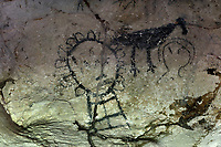 Precolumbian pictogram by the indigenous Tainos culture, in the Cueva de la Linea or Cueva del Ferrocaril, created by limestone erosion, in the Parque Nacional de los Haitises, or Los Haitises National Park, on the North East coast of the Dominican Republic, in the Caribbean. The paintings were made using  berry juice, mangrove bark, charcoal, manatee grease and bat droppings. The park was established in 1976 and consists of limestone karst scenery, mountains, subtropical forest and mangrove forests along the coast. Picture by Manuel Cohen