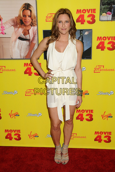 "Jill Wagner.""Movie 43"" Los Angeles Premiere held at Grauman's Chinese Theatre, Hollywood, California, USA..January 23rd, 2013.full length dress hand on hip beige shoes open toe sandals white .CAP/ADM/BP.©Byron Purvis/AdMedia/Capital Pictures."